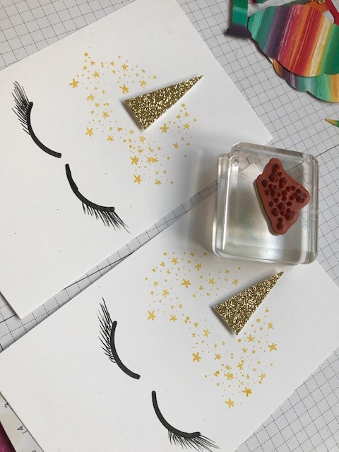 Handmade Unicorn Party Invites designed by Stampin' Up! demonstrator Monica Gale