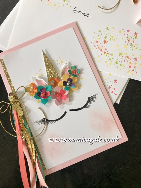 Unicorn Party invitations using Stampin' Up! UK stamps and punches