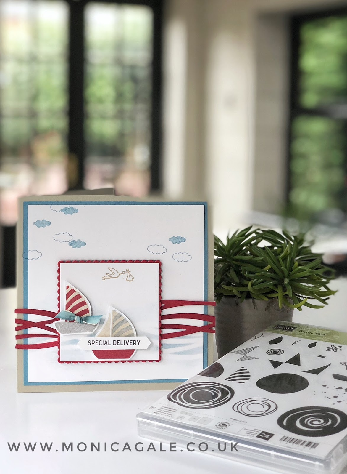 Stampin Up Baby Card using Swirly Bird