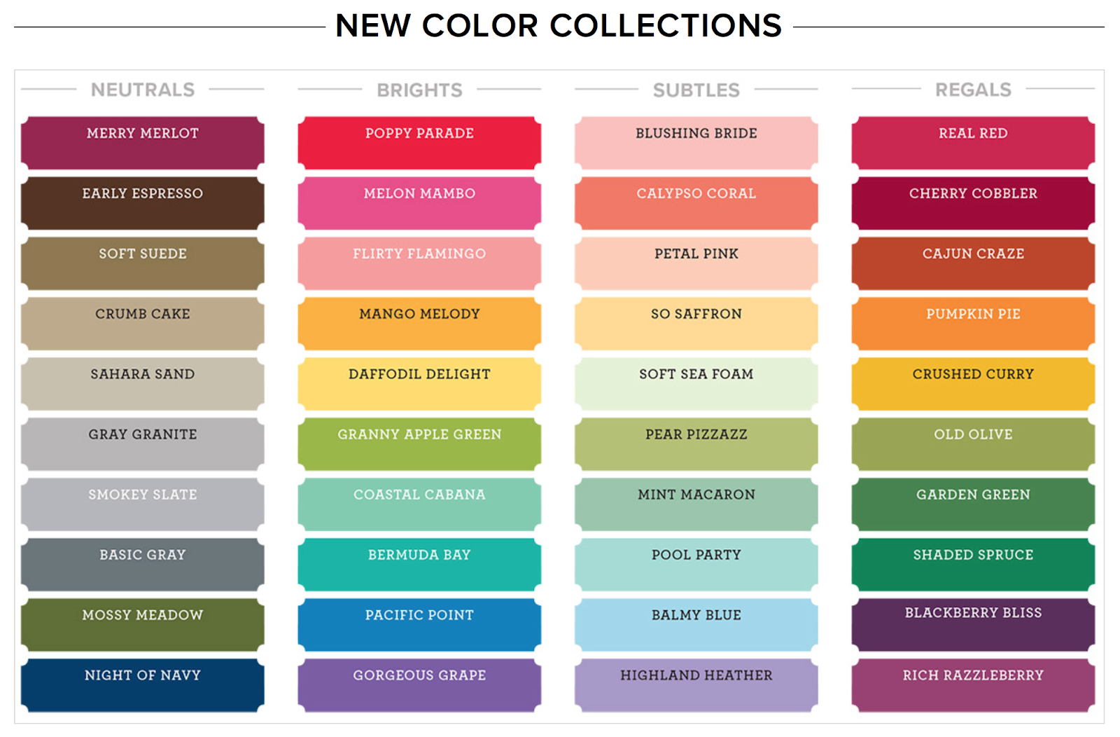 Buy Stampin Up colour revamp 2018