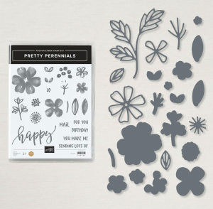 Flowers, leaves and a mix of happy sentiments can be found in this rubber stamp set and matching dies from Stampin'Up! called pretty perennials