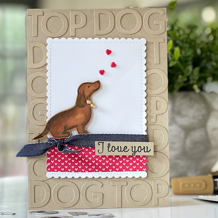 A Dachshund dog valentine card using stampin up stamps called hot dog, buy stampin up products here