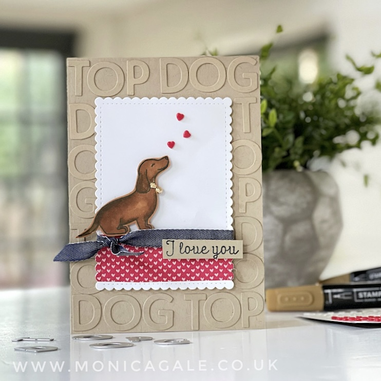 Dachshund dog valentine card using stampin up top dog stamps