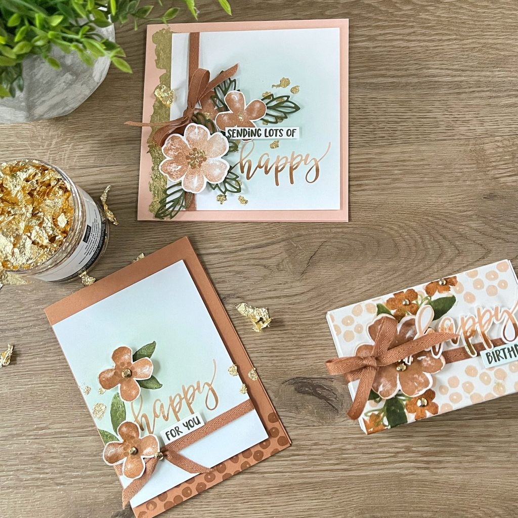 Stampin'Up gold gilding flakes on birthday card and gift box