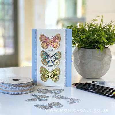 Butterfly Bouquet suite from Stampin' Up! was used to create this gorgeous handmade birthday card
