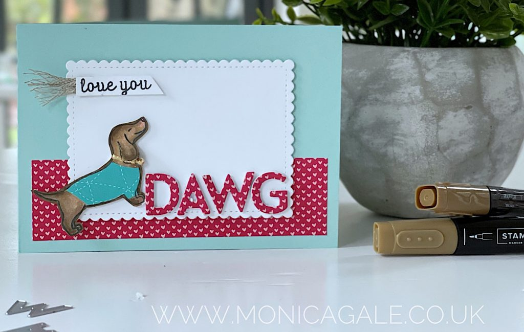 Dachshund dog, doxie dog or sausage dog Valentine Card using Hot Dog from Stampin' Up! stamps