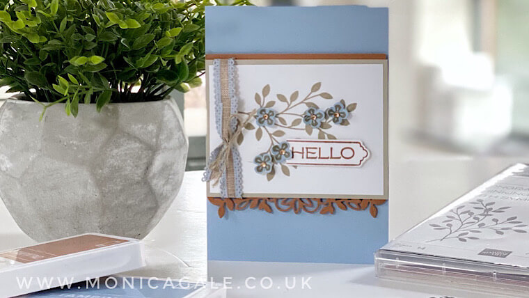 Vine Design from Stampin' Up! Hello card using Seaside Spray and Cinnamon Cider colours