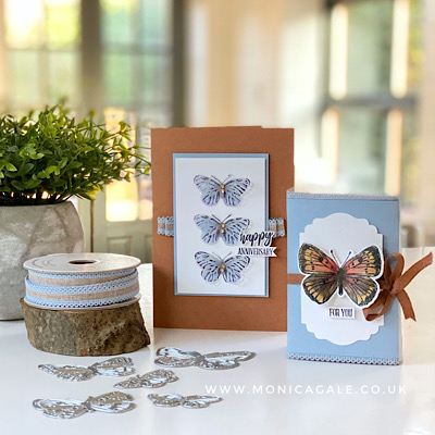 Butterfly Bouquet handmade card and gift box from stampin up
